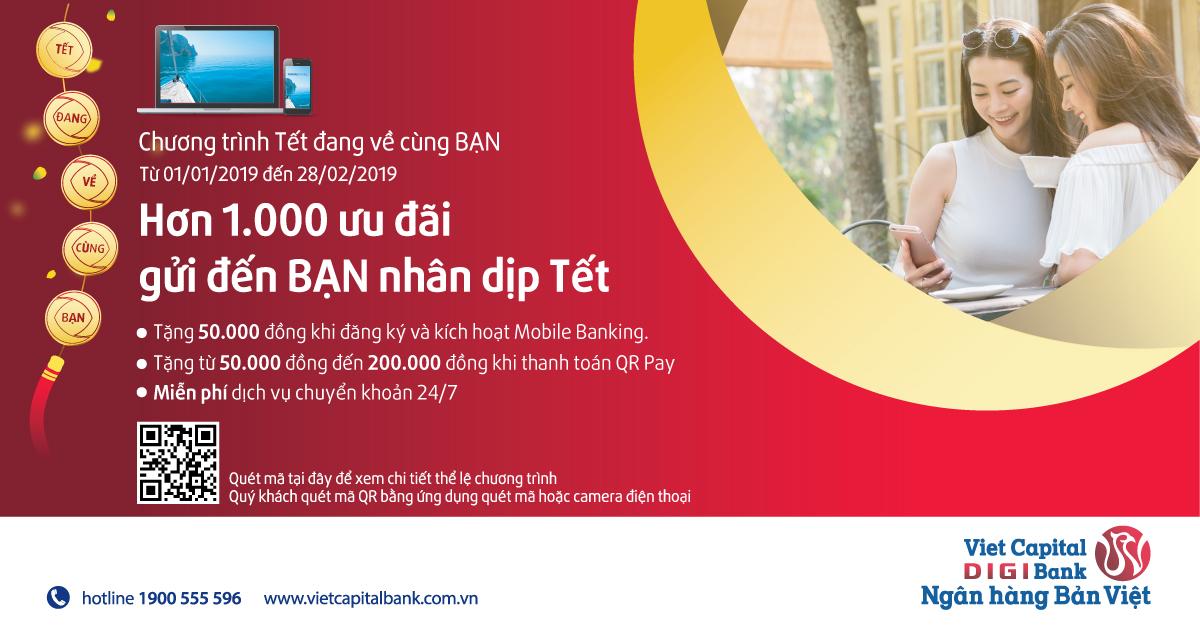 Quét QR Pay nhận nhiều ưu đãi bằng tiền mặt với ứng dụng Viet Capital Mobile Banking